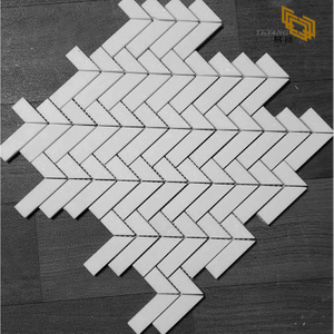 Pure white fish bone Design Beautiful marble mosaic for Wall Decoration