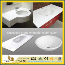 Pre-Fabricate Pure White Artificial Quartz Basin / Work Top / Countertop / Vanitytop