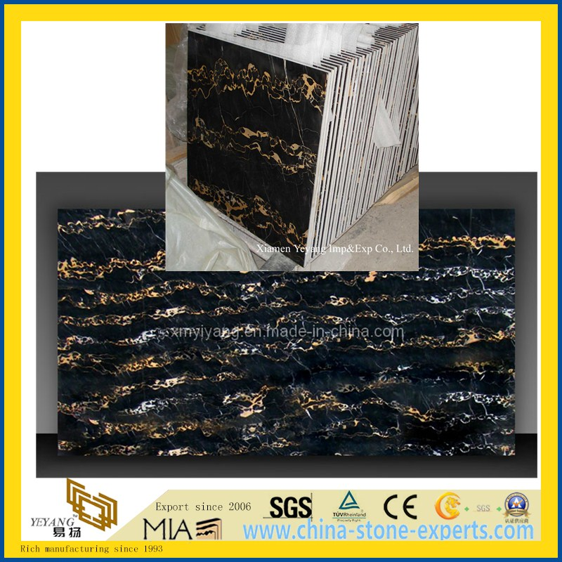 Black & Gold & Brown Portoro Marble Slabs & Tiles for Countertop/Wall/Floor/Window Sill/Stairs