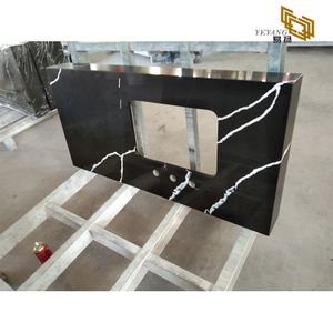Black quartz bathroom countertop stone vanity top materials - D4004