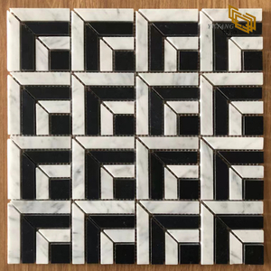 Factory direct sale black and white splicing for wall and floor marble mosaic