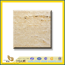 Polished Natural Stone Crema Travertine Marble Slabs for Wall/Flooring (YQC)