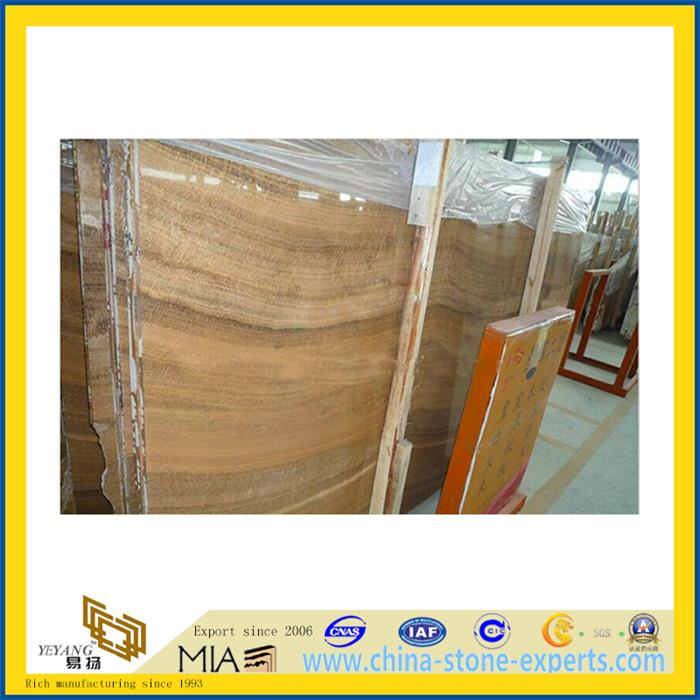 Yellow Wood Marble Slab for Flooring Decoration