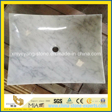 Bianco Carrara Marble Lavatory Sink for Hotel Bathroom