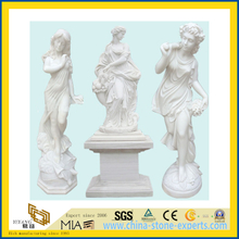 Hand Carved Garden Sculpture White Marble Stone Figure Statue Carving(YQG-LS1034)