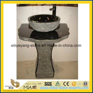 All Polished Shanxi Black Granite Pedestal Basin for Bathroom