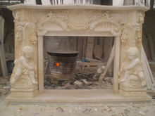 Sunny Beige Marble Fireplace with Kid Scuptures