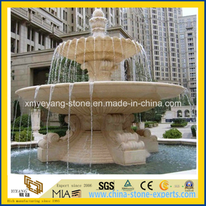 Hand Carving 2 Tiered Stone Fountain for Outdoor Garden