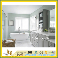 Polished White Artificial Quartz Vanity Top for Home & Hotel Bathroom