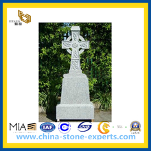 Grey Granite Cross Tombstone / Headstone / Monument (YQZ-MN)