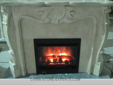 Hand Carved Natural Antique blue stone Limestone Fireplace(YQG-F1004)