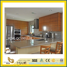 Grey / Gray Prefabricated Quartz Stone Countertops for Bathroom/ Kitchen / Hotel